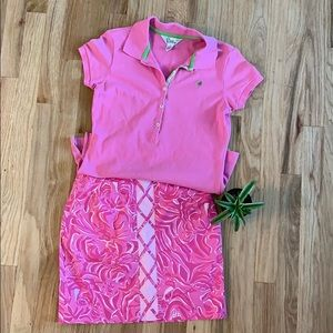 Lilly Pulitzer Sm Bundle Pink Polo and Mini-Skirt
